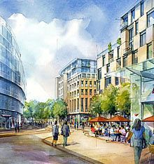 Architectural perspectives, commercial development watercolour